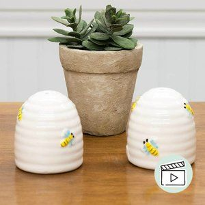 Honey Bee Hive Ceramic Salt & Pepper Shakers